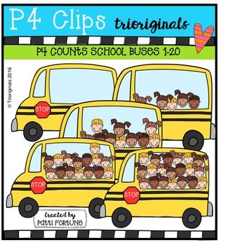 P4 COUNTS Kids on the BUS  {P4 Clips Trioriginals Digital Clip Art}