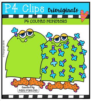 P4 COUNTS Monsters  {P4 Clips Trioriginals Digital Clip Art}