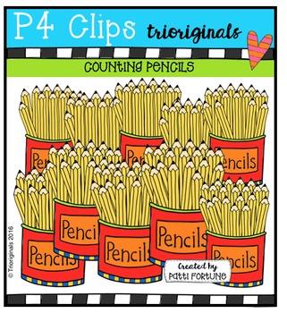 P4 COUNTS Pencils {P4 Clips Trioriginals Digital Clip Art}
