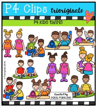 P4 KIDS Twins  {P4 Clips Trioriginals Digital Clip Art}
