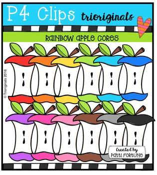 P4 RAINBOW Apple Cores {P4 Clips Trioriginals Digital Clip Art}