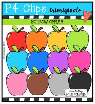 P4 RAINBOW Apples {P4 Clips Trioriginals Digital Clip Art}