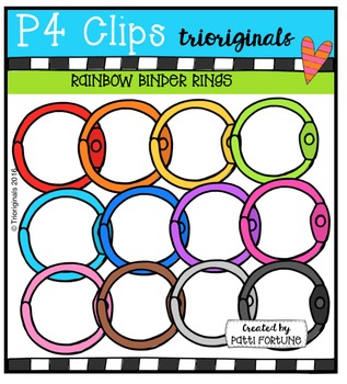 P4 RAINBOW Binder Rings  {P4 Clips Trioriginals Digital Clip Art}
