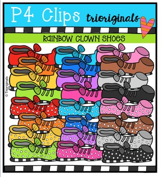 P4 RAINBOW Clown Shoes {P4 Clips Trioriginals Digital Clip Art}