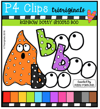 P4 RAINBOW Dotty Ghosts BOO {P4 Clips Trioriginals Digital Clip Art}