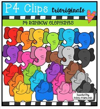 P4 RAINBOW Elephants {P4 Clips Trioriginals Digital Clip Art}