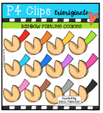 P4 RAINBOW Fortune Cookies {P4 Clips Trioriginals Digital Clip Art}