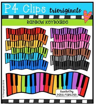 P4 RAINBOW Keyboards  {P4 Clips Trioriginals Digital Clip Art}