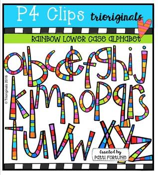 P4 RAINBOW LC Alphabet  {P4 Clips Trioriginals Digital Clip Art}