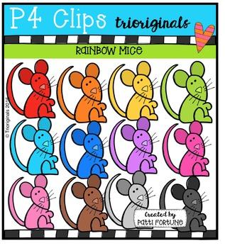 P4 RAINBOW Mice  {P4 Clips Trioriginals Digital Clip Art}