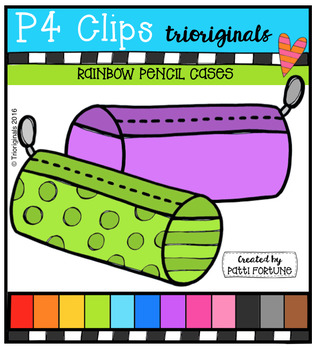 P4 RAINBOW Pencil Cases {P4 Clips Trioriginals Digital Clip Art}