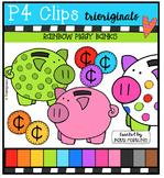 P4 RAINBOW Piggy Banks {P4 Clips Trioriginals Digital Clip Art}