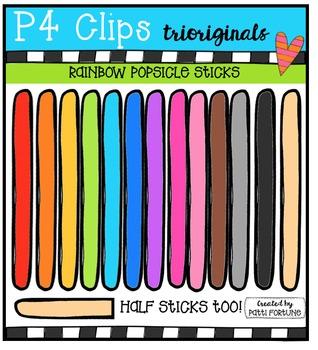 P4 RAINBOW Popsicle Sticks {P4 Clips Trioriginals Digital Clip Art}
