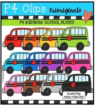 P4 RAINBOW School Buses  {P4 Clips Trioriginals Digital Clip Art}