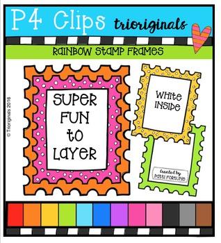 P4 RAINBOW Stamp Frames {P4 Clips Trioriginals Digital Clip Art}