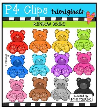 P4 RAINBOW Teddy Bears {P4 Clips Trioriginals Digital Clip Art}