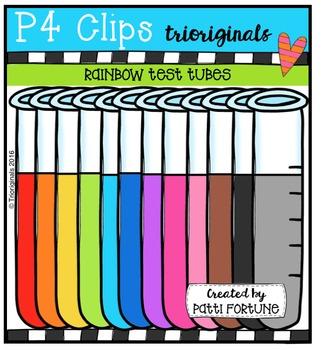 P4 RAINBOW Test Tubes {P4 Clips Trioriginals Digital Clip Art}