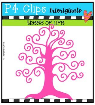 P4 RAINBOW Trees of Life {P4 Clips Trioriginals Digital Clip Art}