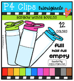 P4 RAINBOW Water Bottles {P4 Clips Trioriginals Digital Clip Art}
