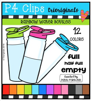P4 RAINBOW Water Bottles {P4 Clips Trioriginals Digital Clip Art}
