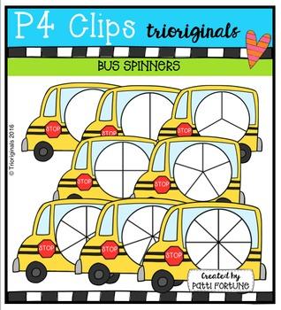 (50% 0FF)  P4 SPINNERS School Buses {P4 Clips Trioriginals Digital Clip Art}