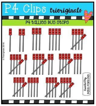 P4 TALLIES School Buses  {P4 Clips Trioriginals Digital Clip Art}