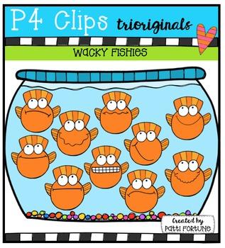 P4 WACKY Fishies {P4 Clips Trioriginals Digital Clip Art}