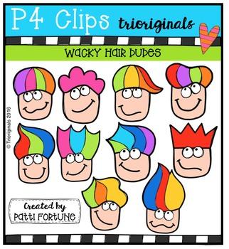 (50% 0FF)  P4 WACKY Hair Dudes  {P4 Clips Trioriginals Digital Clip Art}