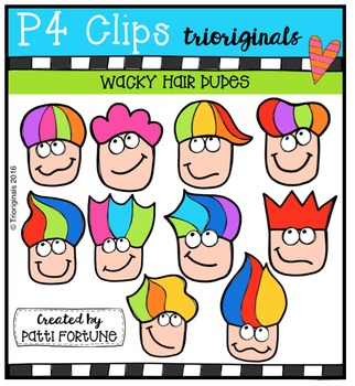 P4 WACKY Hair Dudes  {P4 Clips Trioriginals Digital Clip Art}