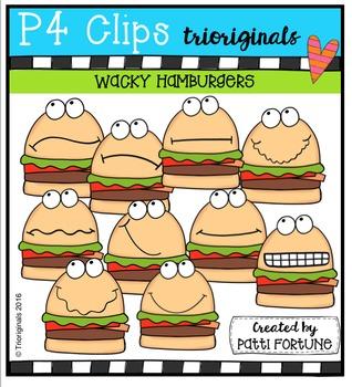 P4 WACKY Hamburger Buddies  {P4 Clips Trioriginals Digital Clip Art}