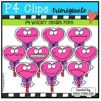 P4 WACKY Heart Lolli Pops (P4 Clips Trioriginals Clip Art)