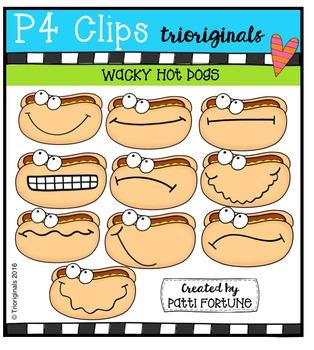 P4 WACKY Hotdog Buddies  {P4 Clips Trioriginals Digital Clip Art}