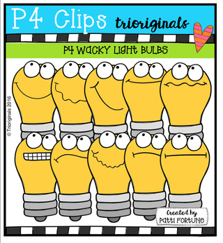 P4 WACKY Light Bulbs  {P4 Clips Trioriginals Digital Clip Art}