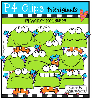 P4 WACKY Monsters  {P4 Clips Trioriginals Digital Clip Art}