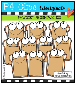 P4 WACKY PB Sandwiches  {P4 Clips Trioriginals Digital Clip Art}
