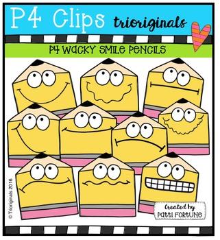 P4 WACKY SMILE Pencils  {P4 Clips Trioriginals Digital Clip Art}