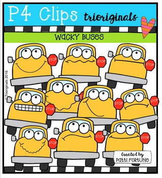 P4 WACKY School Buses  {P4 Clips Trioriginals Digital Clip Art}