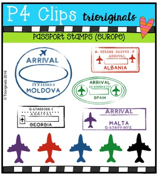 Passport Stamps (Europe)  {P4 Clips Trioriginals Digital Clip Art}
