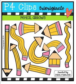 Pencil Arrows {P4 Clips Trioriginals Digital Clip Art}