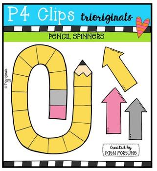 Pencil Spinners  {P4 Clips Trioriginals Digital Clip Art}