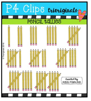 Pencil Tallies {P4 Clips Trioriginals Digital Clip Art}