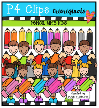 Pencil Time Kids  {P4 Clips Trioriginals Digital Clip Art}