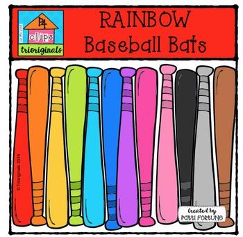 RAINBOW Baseball Bats {P4 Clips Trioriginals Digital Clip Art}