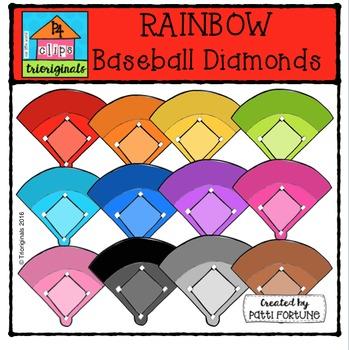 RAINBOW Baseball Diamonds {P4 Clips Trioriginals Digital Clip Art}