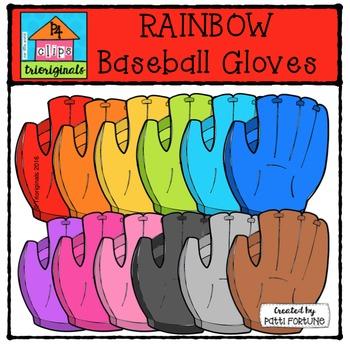 RAINBOW Baseball Gloves {P4 Clips Trioriginals Digital Clip Art}