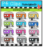 RAINBOW Campers {P4 Clips Trioriginals Digital Clip Art}