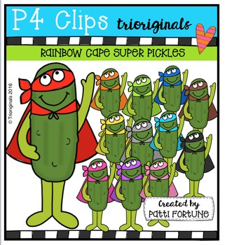 RAINBOW Cape Super Pickles {P4 Clips Trioriginals Digital Clip Art}