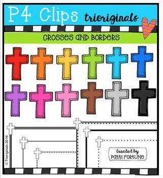 RAINBOW Crosses and Borders  {P4 Clips Trioriginals Digital Clip Art}