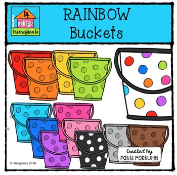 RAINBOW Dots Buckets {P4 Clips Trioriginals Digital Clip Art}