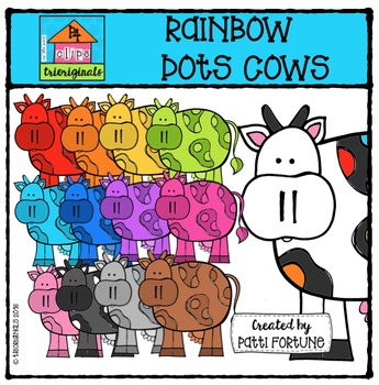 RAINBOW Dots Cows {P4 Clips Trioriginals Digital Clip Art}